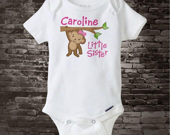 Little Sister Onesie - Monkey Little Sister - Little Sister Monkey Tee Shirt or Onesie - Personalized - Little Sister Outfit - 01022014b