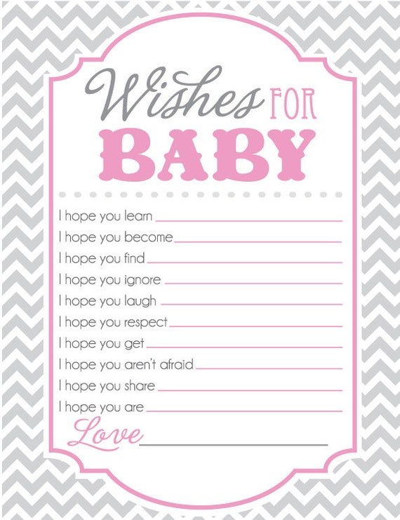 Baby Shower Game Sheet For Wishes For Baby I Hope You
