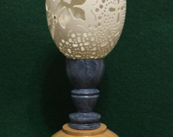 Hand carved Decorative Goose Egg, base made of bamboo, goblet made of basswood and hand painted.