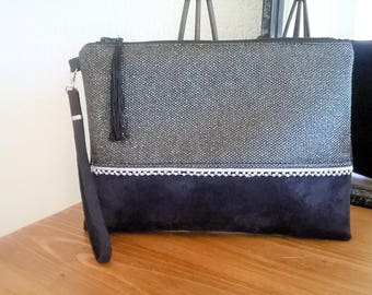 LARGE POUCH glittery faux leather and suede black