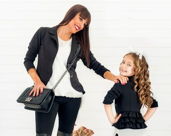 Toddler Girl Clothes, Little Girl Blazer, Kids Jacket, Bolero Jacket, Black Blazer, Girl Jacket, Holidays Kids Clothing, Girl Photo Props,