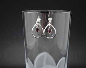 Garnet drop Earrings -  Bezel Set Red Garnet Marquis in Sterling Silver Teardrop Frame - Natural Gemstone Earrings