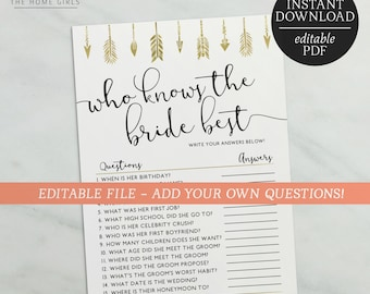Who Knows The Bride Best Editable Game | How Well Do You Know The Bride Editable | Bride Tribe | Bachelorette Hens Games | Gold | Arrows