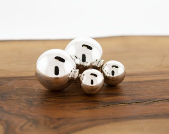 925 Sterling Silver Double Ball Earrings