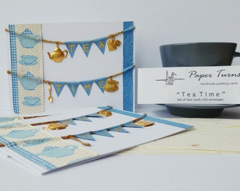 """Handmade Set of 4 Cards """"Tea Time"""" (ribbons, charms, banner in blue & white)"""
