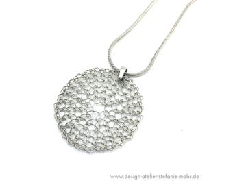 finger knitted stainless steel sun-pendant with stainless steel loop