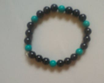 Jet & Turquoise to fit a 6 inch wrist 6mm round