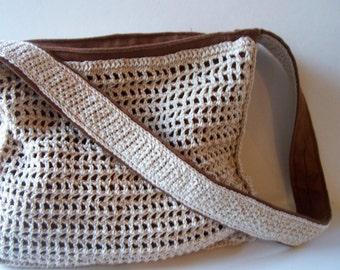 Crocheted Brown and Ecru Pocketbook Purse