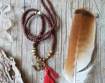 Om yoga necklace, tassel yoga jewelry, spiritual jewelry, om jewelry, gift for her