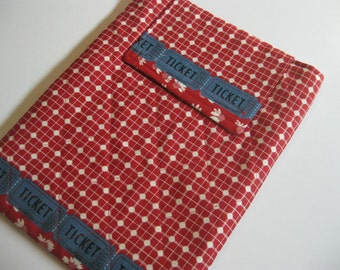 On Sale - IPad Case -Quilted Red with Blue Tickets, tablet sleeve, iPad cozy, Red Quilted case for gadget