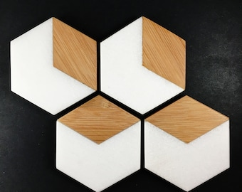 White Marble and Bamboo Coasters