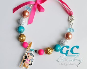 Moana themed Bubblegum Necklace - Girls Jewelry Large Enameled Cartoon Pendant, Gumball Beads,  Silver Heart Lobster Claw Clasp, Ribbon