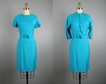 Vintage 1960s Blue Sheath Dress and Jacket Set 60s Rayon Blend Dress in Bright Turquoise 4/S