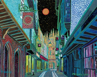 Mercery Lane. Canterbury (2018). A ltd edition, numbered and signed print from an Original Painting by Richard Friend
