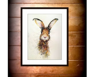 Hare print from original watercolour by Nancy Antoni A4 Size