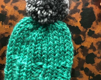 Baby Hat, Chunky Teal and Gray Pompom beanie 0-6 months