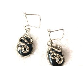 Black earrings, Alpaca Earrings, Unique Earrings