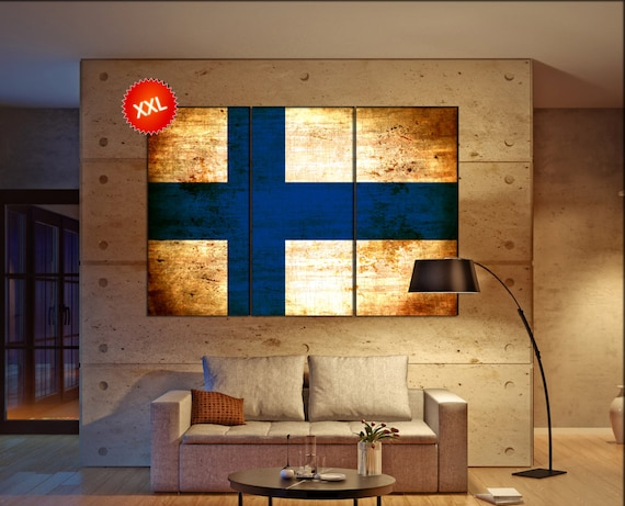 Finland flag canvas wall art art print large  canvas wall art print Finland country flag Wall Home office decor interior Office Decor