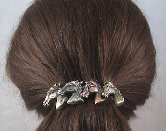 Horses French Barrette Clip 80mm- Hair Accessories- Hair Clip- Horse Lover Gift- French Barrette