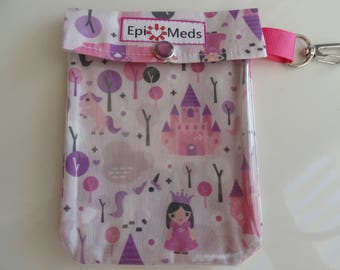 Princess Unicorns & Castles Auvi Q Epi Pen, Inhaler or Ouch Pouch Clear Front W/ Clip 4x5 Holds 2 Injectors / Puffer / First Aid Supplies