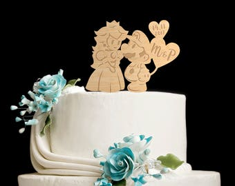 Mario and peach cake topper,super mario and princess peach wedding,super mario cake topper,super mario wedding cake topper,super mario,66817