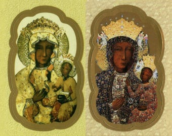 Fancy Die-Cut Stickers of Our Lady of Czestochowa with Metallic Highlights - Sheet of 9 in your choice of Image - Black Madonna