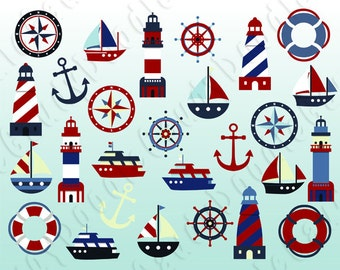 Nautical Digital Clipart Vector - Lighthouse, Sailboat, Anchor, Compass, Steering Wheel, Cruise Ship