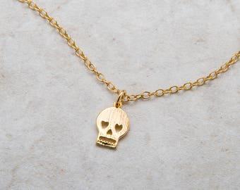 Skull Necklace, Tiny and Dainty Gold Skull Charm, Skull Jewelry