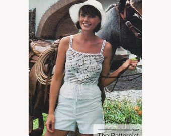 PDF Filet Crochet Pattern for Rose Motif Camisole - Women's Tank Top Crochet Pattern Vintage 1970s PDF Download SKU 103-1