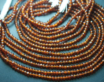 13 Inches Strand,Natural Hessonite Garnet Faceted Rondelles,Machine cut  Size 3mm