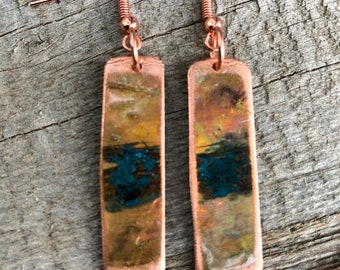 Iridescent Reclaimed Copper Pipe Earrings