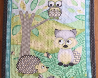 Soft blanket for baby owl, hedgehog and Fox