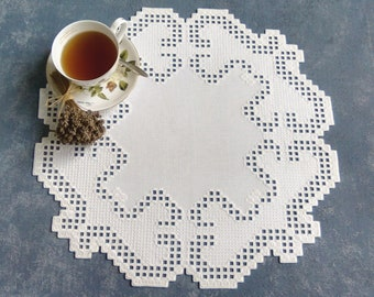 Hardanger Centerpiece, Hardanger Embroidery,Hand embroidered doily.
