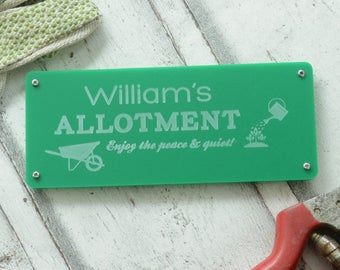 Engraved Allotment Gardening Sign Personalised
