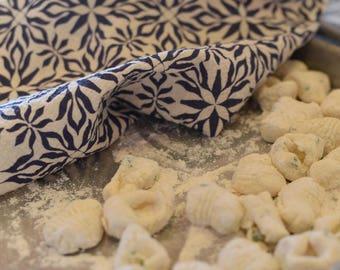 Woodblock Nettles Print Towel : Navy Vintage Woodblock Print Inspired Flour Sack Kitchen Tea Towel