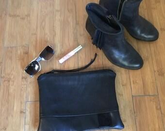 Black Leather Clutch, Repurposed Leather Clutch, Minimalist, Everyday Zipper Clutch, Lambskin Leather Clutch, Evening Clutch, Black