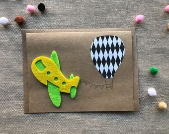 Travel Greeting card, airplane card, birthday card, kraft paper card