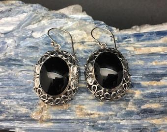Black Onyx Earrings // 925 Sterling Silver // Floral Bali Setting // Hand Cast // Onyx Earrings