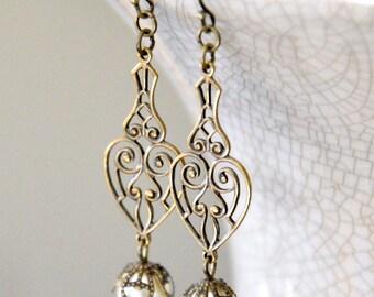 Long Pearl Earrings, Antique Brass Filigree Earrings, Ivory Pearl Earrings, Antique Brass Pearl Earrings, Victorian Style Bridal Earrings