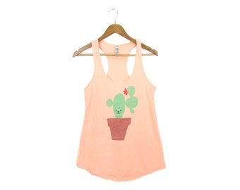 SAMPLE SALE Cactus Friend Tank - Racerback Scoop Neck French Terry Swing Tank Top in Peach & Terra Cotta - Women's Size L