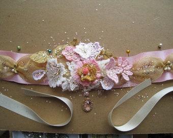 Silk Ribbon Vintage Lace Floral Marie Antoinette Pink & Gold Choker