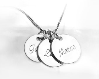 Three Tags Necklace, Customized Necklace, Engraved Names, Three Pendants Necklace, 925 Sterling Silver, Personalized Gift Jewelry
