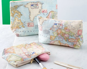 World Map Atlas Travel Gift Makeup Toiletry Cosmetic Wash Bag
