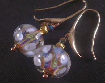 Pink lilies, white and gold plated