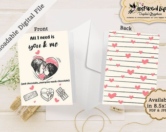 """Instant Download Printable Valentine Folded Card """"All I need is you and me... and chocolate"""" /LGBT Printable Valentines Card/ LGBT Card"""