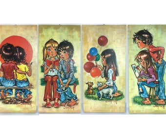 NEW vintage big eyed boy/girl print from F.Idylle, retro children wall deco on board, 1960's.