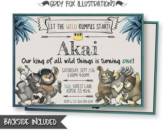 Where The Wild Things Are Birthday Invitation, Where The Wild Things Are Invitations, Wild Thing Personalized Invitation, Max Printables