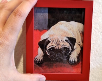 Pug,Dog Art,Mini Framed Print