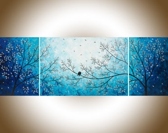 """Large Wall art 72"""" original Romantic love birds art home decor wall decor landscape Painting""""Moonlight Sonata"""" by qiqigallery- Made to order"""