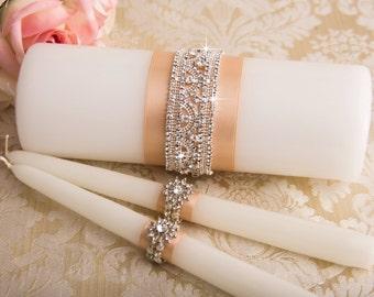 Crystal Unity Candles Set, Rhinestone Wedding Candles, Bling Wedding Unity Candle Set, Blush Wedding Candle Set, Custom Color Candles